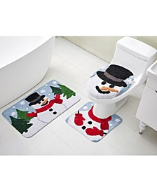 Snowman 3-Pc. Bath Rug Set