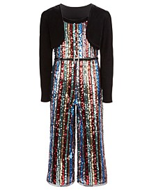 Big Girls 2-Pc. Shrug & Belted Sequined Jumpsuit Set