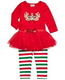 Little Girls 2-Pc. Unicorn Tutu Top & Striped Leggings Set