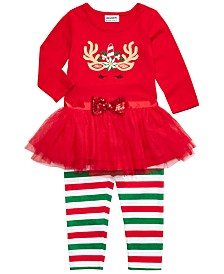Blueberi Boulevard Little Girls 2-Pc. Unicorn Tutu Top & Striped Leggings Set