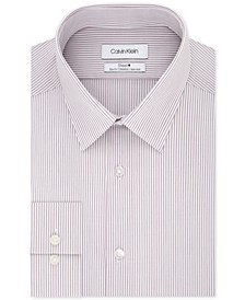 Men's STEEL Slim-Fit Non-Iron Performance Stretch Striped Dress Shirt