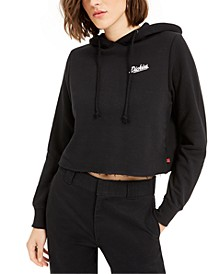 Cropped Cotton Logo Hoodie