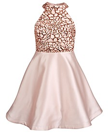 Big Girls Sequin Trim Satin Dress