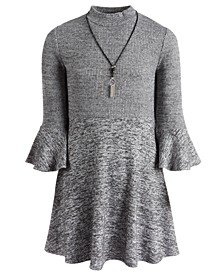 Big Girls 2-Pc. Marled Sweater Dress & Necklace Set