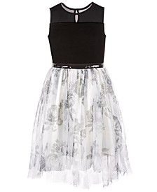Big Girls Illusion Velvet Mesh Dress