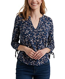 Floral-Print 3/4-Sleeve Top