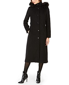 Faux-Fur-Trim Hooded Maxi Coat
