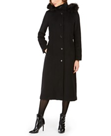 Calvin Klein Faux-Fur-Trim Hooded Maxi Coat