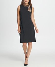 DKNY Animal Tie Neck Sheath Dress