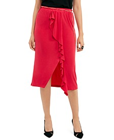 Solid Ruffle-Trim Skirt, Created for Macy's