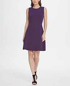 Sleeveless Crepe Fit  Flare Dress
