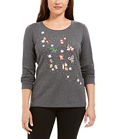 Cotton Glitter-Print Top, Created For Macy's