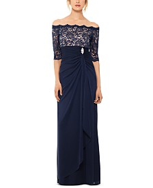 B&A by Betsy & Adam Off-The-Shoulder Lace Gown