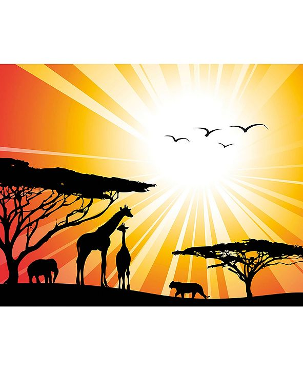 ohpopsi Sunset Safari Wall Mural