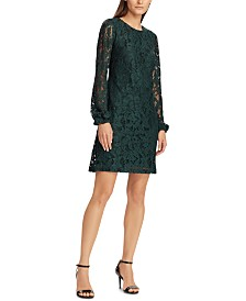 Lauren Ralph Lauren Lace Bishop-Sleeve Dress