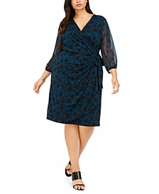 INC Plus Size Shadow-Floral Wrap Dress, Created For Macy's