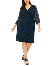 I.N.C. Plus Size Shadow-Floral Wrap Dress, Created For Macy's