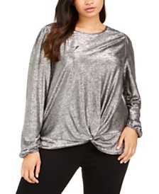 I.N.C. Plus Size Twist-Front Shine Top, Created For Macy's