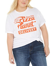Trendy Plus Size Cotton Pizza Planet Graphic T-Shirt