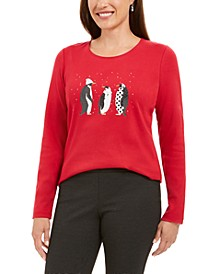 Polka-Dot Penguins Embellished Cotton Top, Created For Macy's