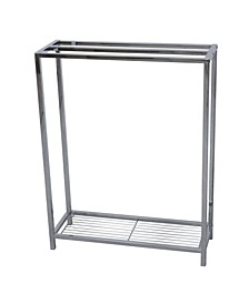 Freestanding Iron Towel Rack in Polished Chrome