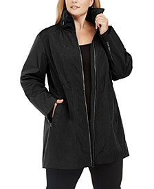 Plus Size Zipper Hood Warm-Up Jacket