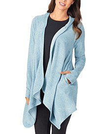 Women's Fleece with Stretch Long-Sleeve Hooded Wrap