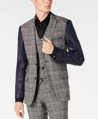 Men's Slim-Fit Blazer with Vegan Leather Sleeves