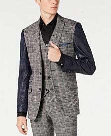 Men's Slim-Fit Blazer with Vegan Leather Sleeves