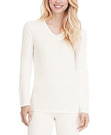 Softwear Lace-Edge Long-Sleeve V-Neck Top