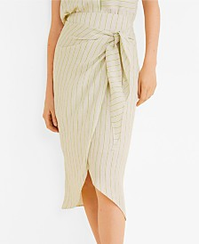 Mango Striped Wrap Skirt