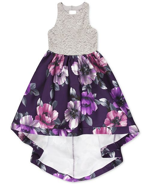 Speechless Big Girls Lace Floral-Print High-Low Dress