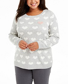 Plus Size Heart-Print Sweater, Created For Macy's