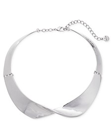 "Silver-Tone Sculpted Wave Collar Necklace, 15"" + 2"" extender, Created For Macy's"