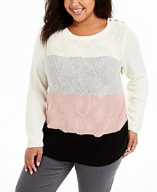 Plus Size Striped Sweater, Created For Macy's