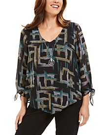 Printed Asymmetrical Necklace Blouse, Created For Macy's