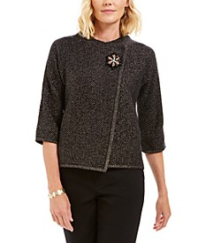 Holiday Party Metallic Textured Brooch Sweater Jacket, Created For Macy's