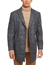 Orange Men's Slim-Fit Gray Floral Paisley Overcoat