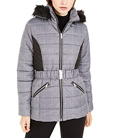 Juniors' Menswear-Plaid Faux-Fur Trim Puffer Coat