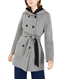 Juniors' Tweed Fleece Hooded Trench Coat