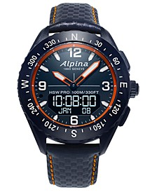 Men's Swiss Analog-Digital AlpinerX Blue Leather Strap Hybrid Smart Watch 45mm