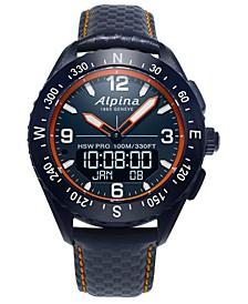 Men's Swiss Analog-Digital AlpinerX Blue Leather Strap Hybrid Smart Watch 45mm