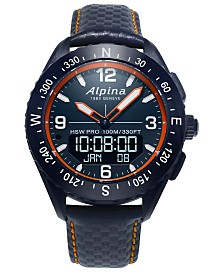 Alpina Men's Swiss Analog-Digital AlpinerX Blue Leather Strap Hybrid Smart Watch 45mm