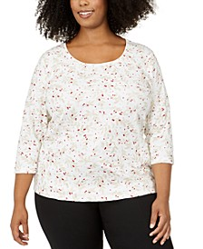 Plus Size Wheat Fields Top, Created For Macy's