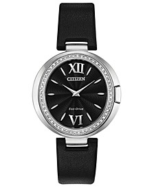 Eco-Drive Women's Capella Diamond-Accent Black Leather Strap Watch 34mm