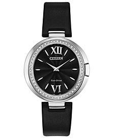 Eco-Drive Women's Capella Diamond-Accent Black Leather Strap Watch 34mm