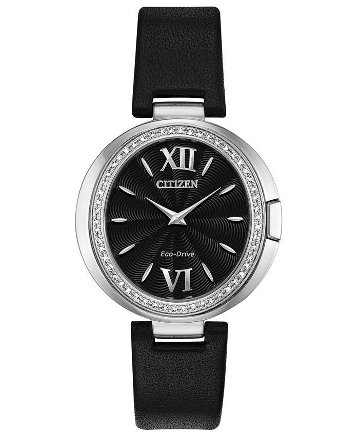 Citizen - Women's Capella Diamond-Accent Black Leather Strap Watch 34mm
