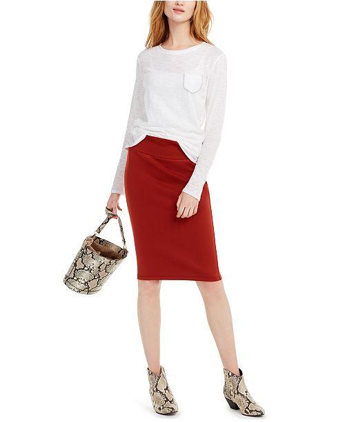 INC International Concepts I.N.C. Rhinestone-Pocket T-Shirt & Scuba Pencil Skirt, Created for Macy's