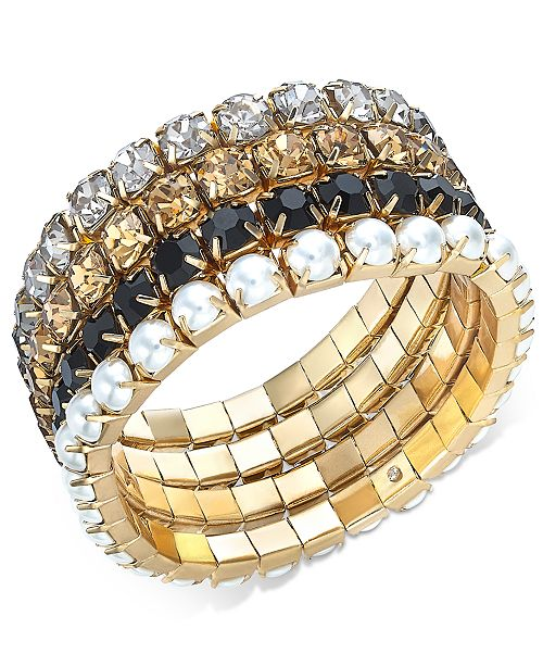 INC International Concepts INC Gold-Tone 4-Pc. Set Rhinestone & Imitation Pearl Stretch Bracelets, Created For Macy's
