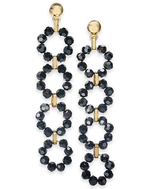 INC International Concepts INC Gold-Tone Beaded Circles Linear Drop Earrings, Created For Macy's